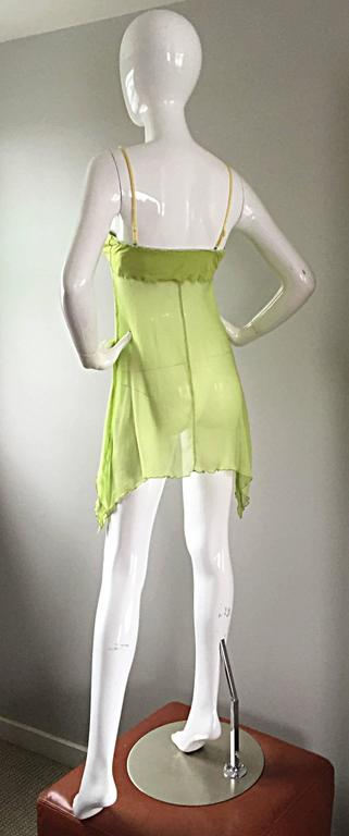 Exquisite Alexander McQueen c. 2004 BNWT Chartreuse Green Chiffon Jeweled Top For Sale 1