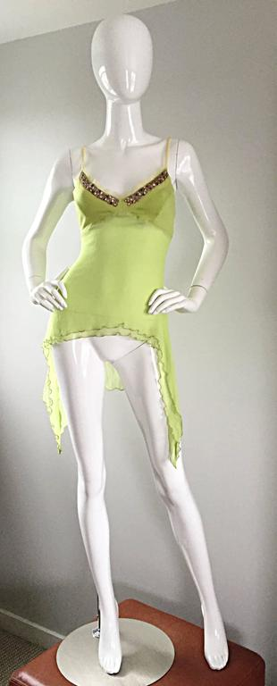 Exquisite Alexander McQueen c. 2004 BNWT Chartreuse Green Chiffon Jeweled Top For Sale 5