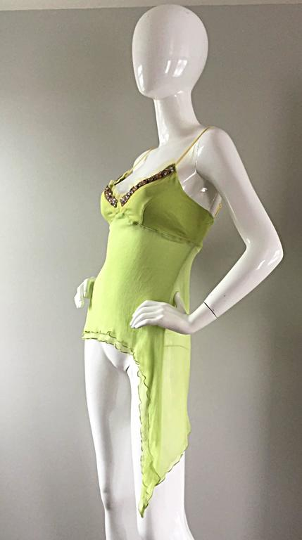 Exquisite Alexander McQueen c. 2004 BNWT Chartreuse Green Chiffon Jeweled Top For Sale 2