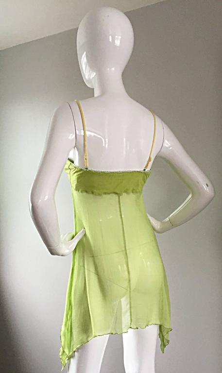 Exquisite Alexander McQueen c. 2004 BNWT Chartreuse Green Chiffon Jeweled Top For Sale 4
