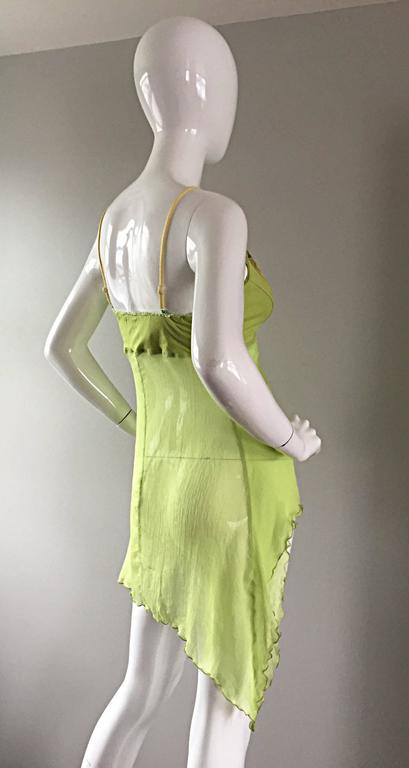 Exquisite Alexander McQueen c. 2004 BNWT Chartreuse Green Chiffon Jeweled Top For Sale 3