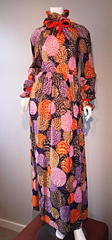 Sensational Vintage Geoffrey Beene 1970s Silk Burnt - Out Velvet 70s Dress For Sale 4