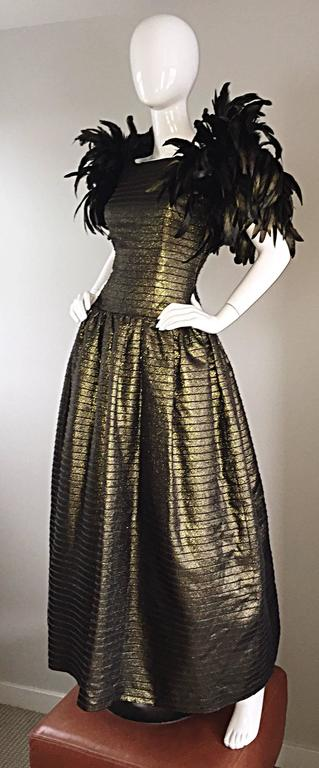 Black Incredible Vintage Victor Costa Gold / Bronze Avant Garde Gown w/ Feathers For Sale