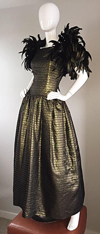 Incredible Vintage Victor Costa Gold / Bronze Avant Garde Gown w/ Feathers For Sale 3