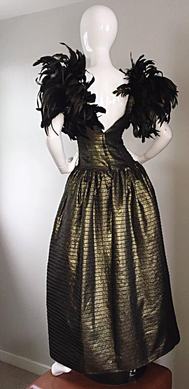 Incredible Vintage Victor Costa Gold / Bronze Avant Garde Gown w/ Feathers In Excellent Condition For Sale In San Francisco, CA
