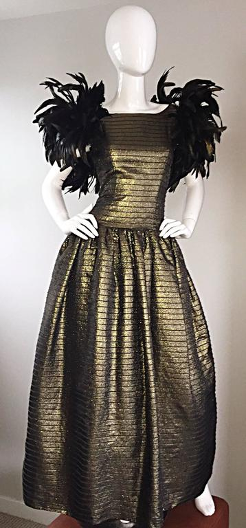 Incredible Vintage Victor Costa Gold / Bronze Avant Garde Gown w/ Feathers For Sale 4