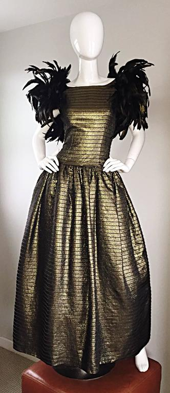 Incredible Vintage Victor Costa Gold / Bronze Avant Garde Gown w/ Feathers For Sale 1