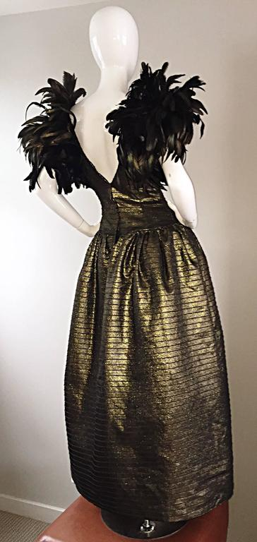Incredible Vintage Victor Costa Gold / Bronze Avant Garde Gown w/ Feathers For Sale 2