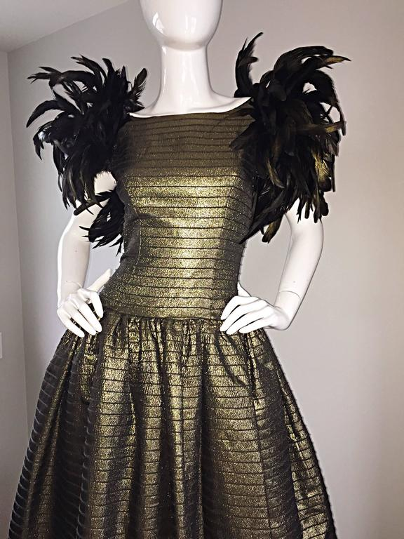 Women's Incredible Vintage Victor Costa Gold / Bronze Avant Garde Gown w/ Feathers For Sale