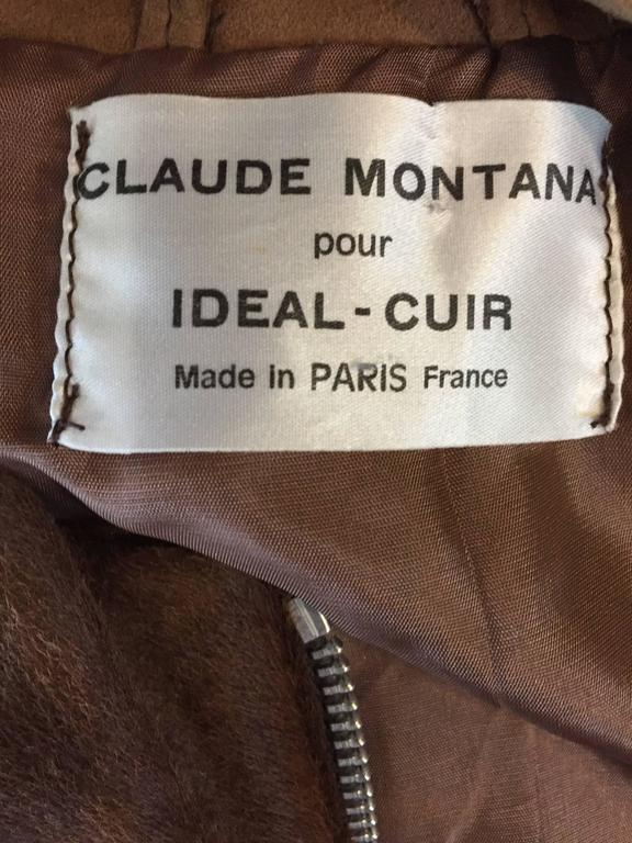 Rare Vintage Claude Montana 90s Calf Pony Hair Leather Suede Brown + White Vest For Sale 6