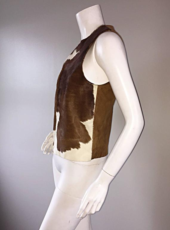 Rare Vintage Claude Montana 90s Calf Pony Hair Leather Suede Brown + White Vest For Sale 2