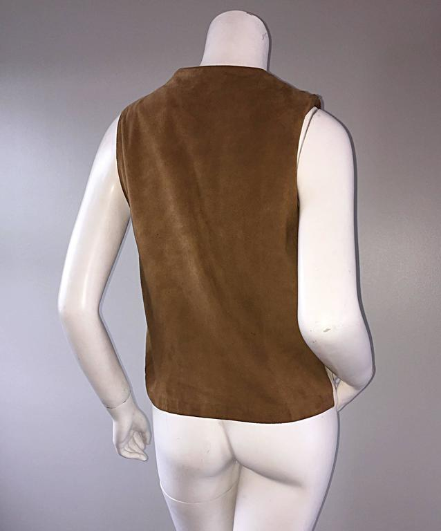 Rare Vintage Claude Montana 90s Calf Pony Hair Leather Suede Brown + White Vest For Sale 4