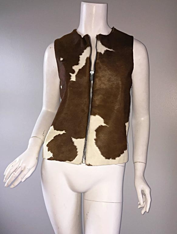 Rare Vintage Claude Montana 90s Calf Pony Hair Leather Suede Brown + White Vest In Excellent Condition For Sale In Chicago, IL