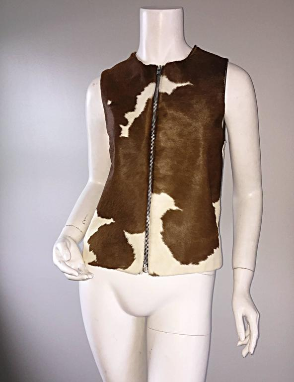 Women's Rare Vintage Claude Montana 90s Calf Pony Hair Leather Suede Brown + White Vest For Sale