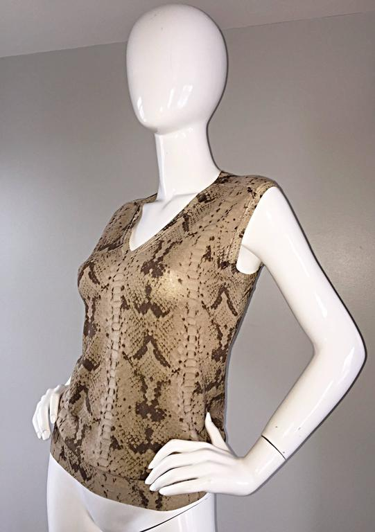 Tom Ford For Yves Saint Laurent Reptile Snake Print Lightweight Wool Top / Vest In Excellent Condition For Sale In Chicago, IL