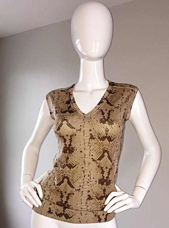Tom Ford For Yves Saint Laurent Reptile Snake Print Lightweight Wool Top / Vest For Sale 1