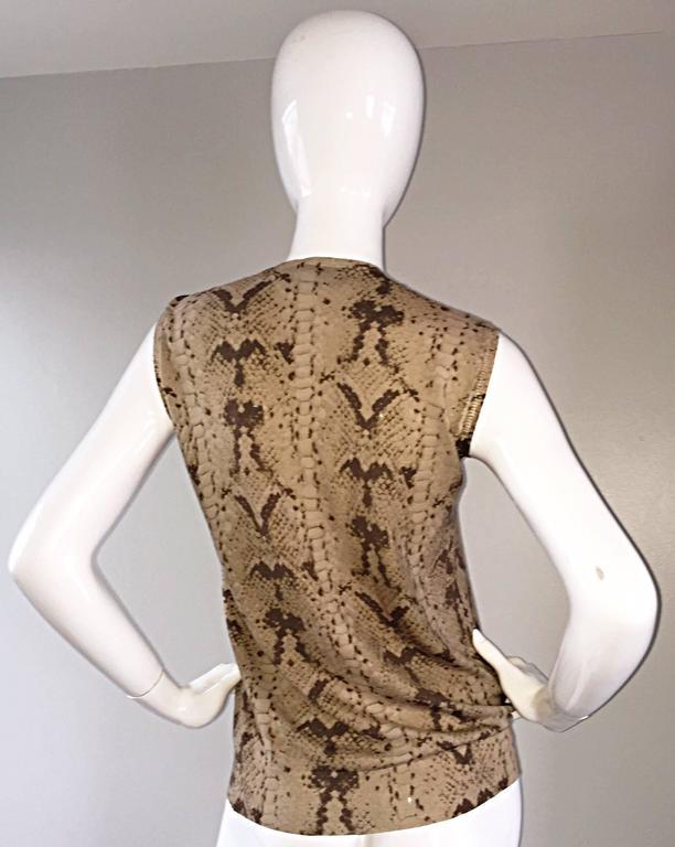 Tom Ford For Yves Saint Laurent Reptile Snake Print Lightweight Wool Top / Vest For Sale 3