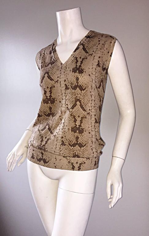 Brown Tom Ford For Yves Saint Laurent Reptile Snake Print Lightweight Wool Top / Vest For Sale