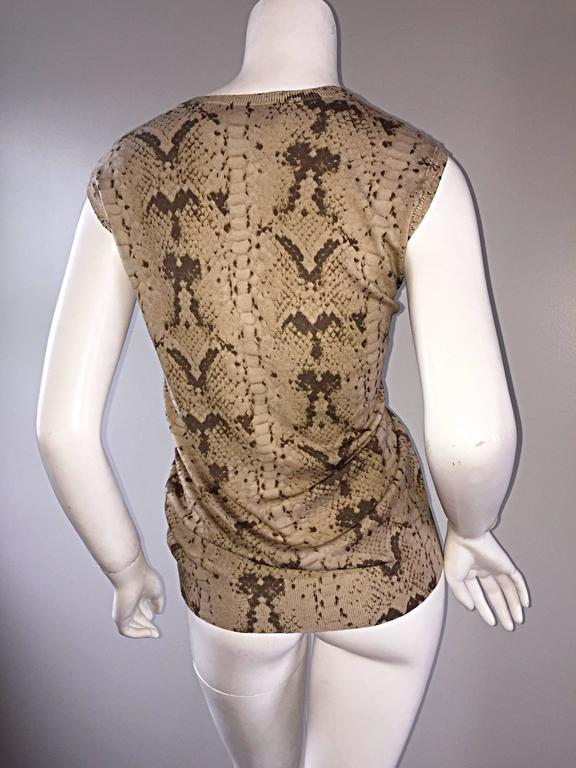 Women's Tom Ford For Yves Saint Laurent Reptile Snake Print Lightweight Wool Top / Vest For Sale
