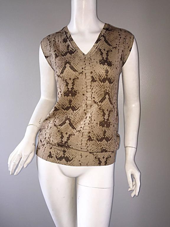 Tom Ford For Yves Saint Laurent Reptile Snake Print Lightweight Wool Top / Vest For Sale 4
