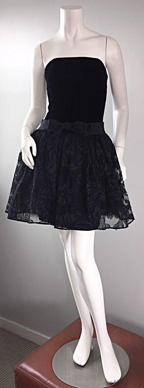 Beautiful vintage early 90s JAMES PURCELL black silk velvet and lace strapless dress! Features some of the most beautiful black French lace I have ever seen on the overskirt! Black silk velvet bodice and pencil skirt, with Purcell's signature lace