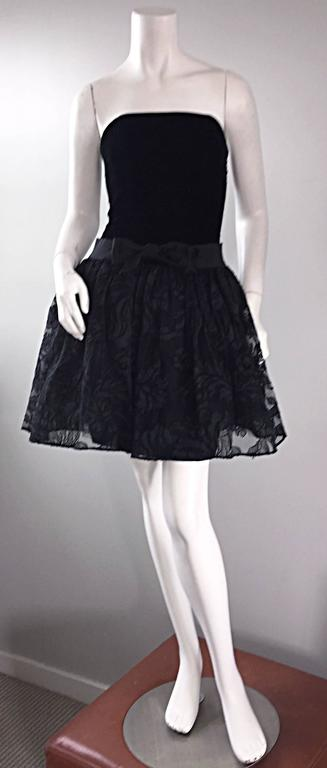 Vintage James Purcell Size 2 1990s Couture Black Silk Lace 90s Strapless Dress For Sale 5