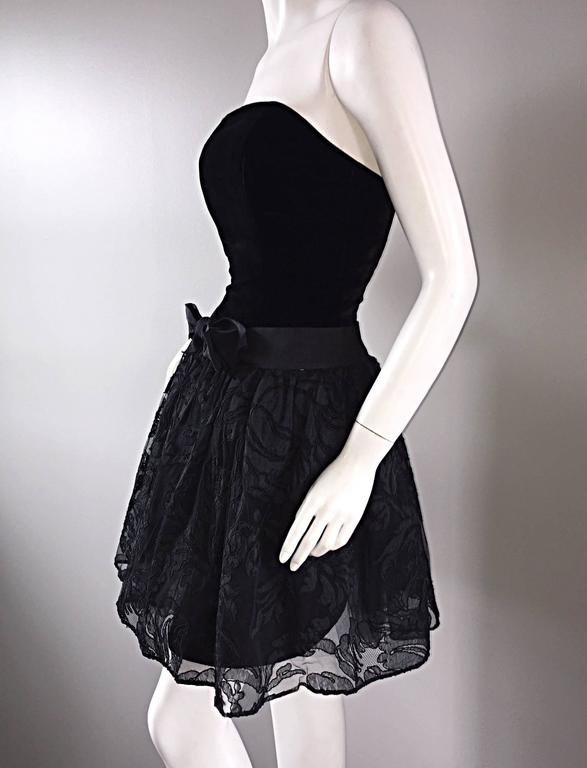 Women's Vintage James Purcell Size 2 1990s Couture Black Silk Lace 90s Strapless Dress For Sale