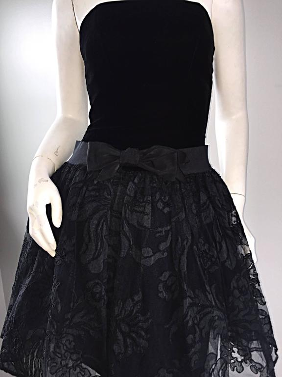 Vintage James Purcell Size 2 1990s Couture Black Silk Lace 90s Strapless Dress For Sale 2