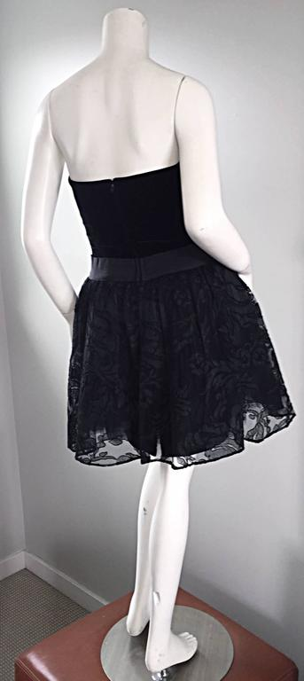 Vintage James Purcell Size 2 1990s Couture Black Silk Lace 90s Strapless Dress For Sale 3