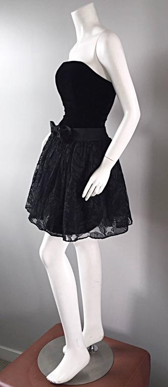 Vintage James Purcell Size 2 1990s Couture Black Silk Lace 90s Strapless Dress For Sale 4