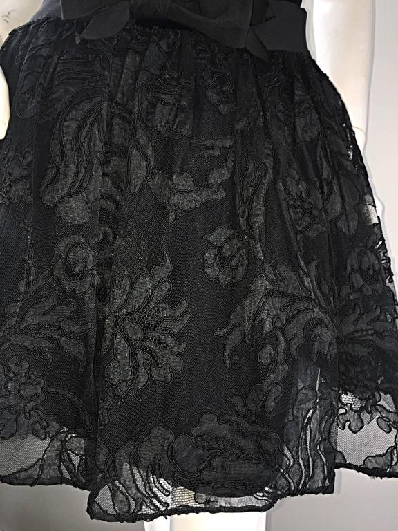 Vintage James Purcell Size 2 1990s Couture Black Silk Lace 90s Strapless Dress For Sale 1