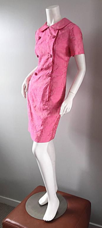 1960s Dynasty Pink Jackie - O Style Asian Inspired Vintage 60s Silk Dress 4