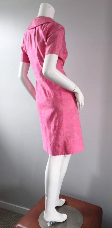 1960s Dynasty Pink Jackie - O Style Asian Inspired Vintage 60s Silk Dress 6