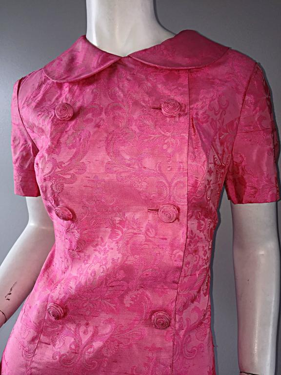 1960s Dynasty Pink Jackie - O Style Asian Inspired Vintage 60s Silk Dress 3
