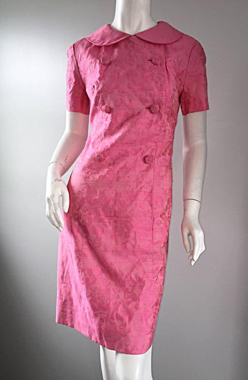 1960s Dynasty Pink Jackie - O Style Asian Inspired Vintage 60s Silk Dress 5