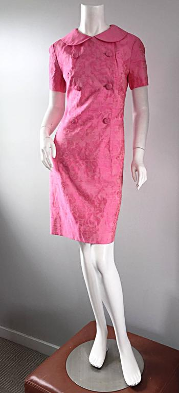 1960s Dynasty Pink Jackie - O Style Asian Inspired Vintage 60s Silk Dress 2