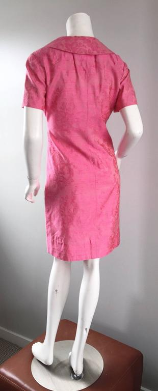 1960s Dynasty Pink Jackie - O Style Asian Inspired Vintage 60s Silk Dress 7