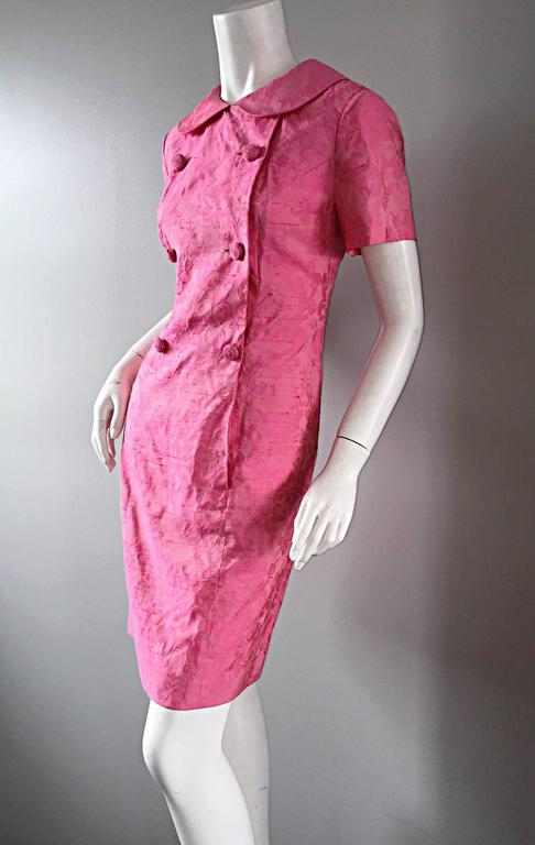1960s Dynasty Pink Jackie - O Style Asian Inspired Vintage 60s Silk Dress 8