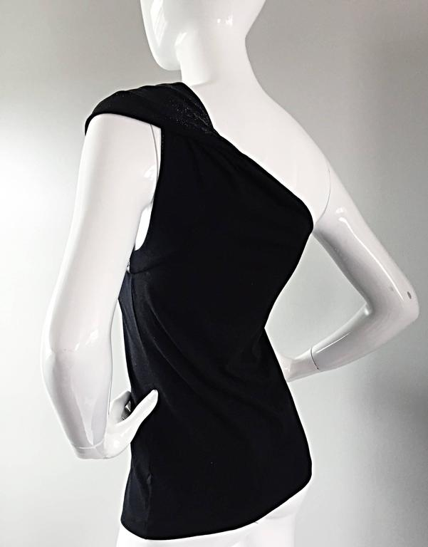 Women's Tom Ford For Gucci 1996 Black One Shoulder ' Glimmer ' Runway Bodycon Top For Sale