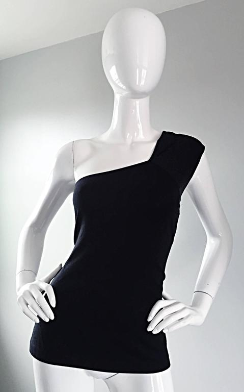 Tom Ford For Gucci 1996 Black One Shoulder ' Glimmer ' Runway Bodycon Top In Excellent Condition For Sale In San Francisco, CA