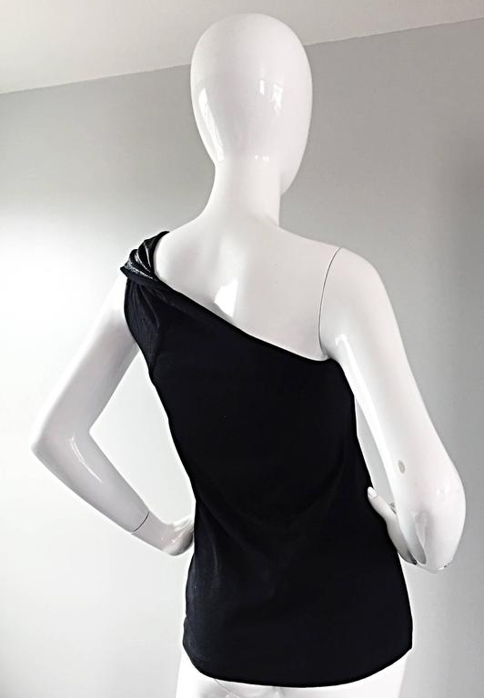 Tom Ford For Gucci 1996 Black One Shoulder ' Glimmer ' Runway Bodycon Top For Sale 2