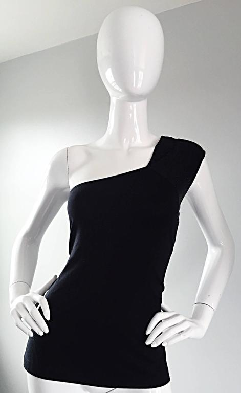 Tom Ford For Gucci 1996 Black One Shoulder ' Glimmer ' Runway Bodycon Top For Sale 4