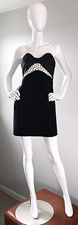 Exquisite vintage GEOFFREY BEENE early 90s strapless dress! Features a black and white silk polka dotted bodice, and a flattering lightweight black wool skirt. Impeccable construction, with the heavy eye to detail that Beene was renowned for. Skirt