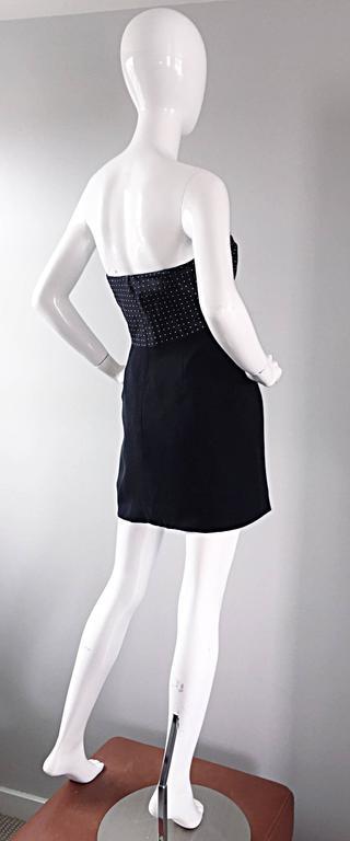 Vintage Geoffrey Beene 1990s Black and White Polka Dot Vintage Strapless Dress  For Sale 1
