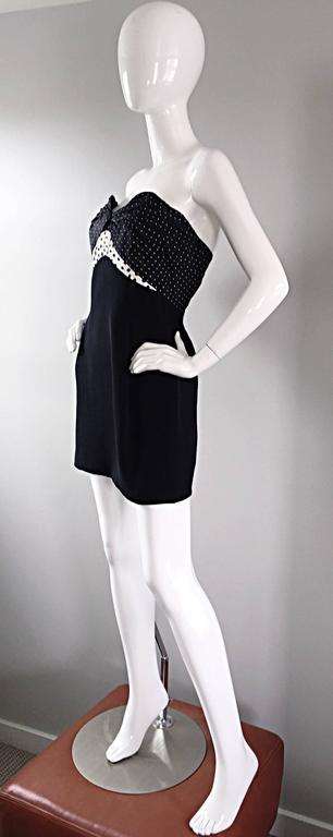 Vintage Geoffrey Beene 1990s Black and White Polka Dot Vintage Strapless Dress  For Sale 3