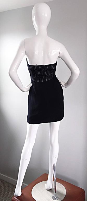 Vintage Geoffrey Beene 1990s Black and White Polka Dot Vintage Strapless Dress  For Sale 2
