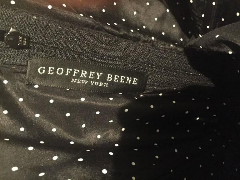 Vintage Geoffrey Beene 1990s Black and White Polka Dot Vintage Strapless Dress  For Sale 5