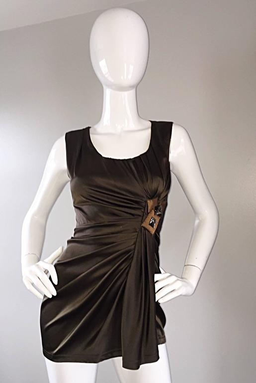 NWT Vera Wang Collection Forest Green Silk Grecian Blouse w/ Big Rhinestones  7