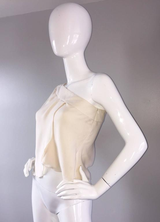 Vintage Girogio Armani 1980s Ivory One Shoulder 80s Silk Cropped Blouse / Top  6