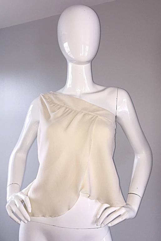 Vintage Girogio Armani 1980s Ivory One Shoulder 80s Silk Cropped Blouse / Top  4